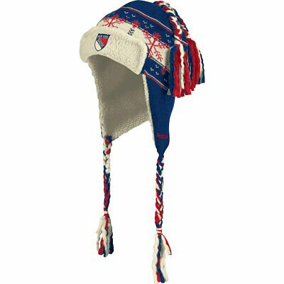 NHL New York Rangers Winter Classic 2012 Knit Tassel Sherpa Aviator Hat Cap