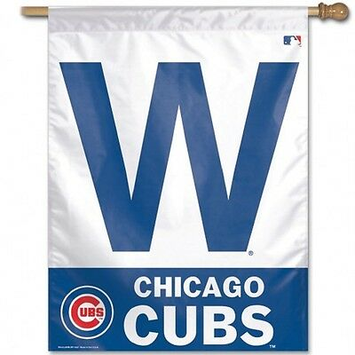 """MLB Chicago Cubs Wincraft 27"""" X 37"""" Vertical W for Win Flag New"""