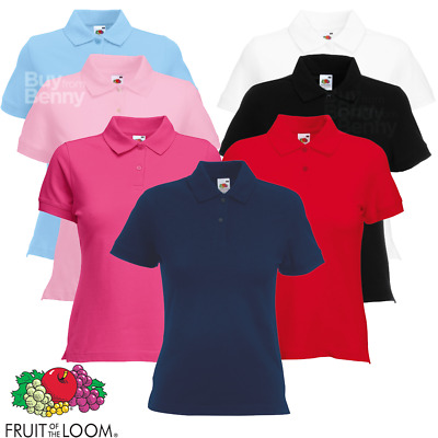 Fruit Of The Loom LADIES PIQUE POLO SHIRT TOP COTTON ELASTANE SLIM FIT XXS-2XL