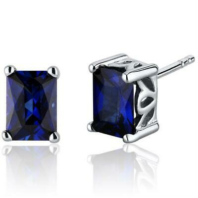 1Ct Radiant Cut Blue Sapphire Solitaire Stud Women Earring 14K White Gold Finish