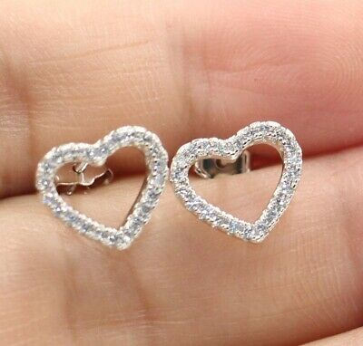 1.5ct Round Cut Diamond Hollow Heart Shape Stud Earrings 14k White Gold Finish