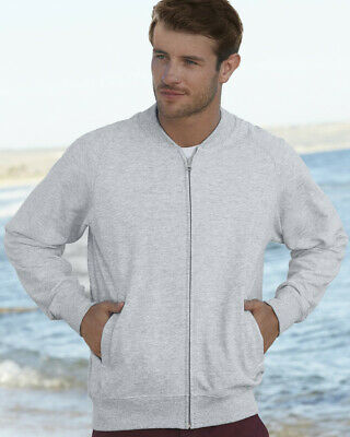 Fruit of the Loom MEN'S LIGHTWEIGHT BASEBALL JACKET ZIPPED SWEAT RAGLAN SLEEVES