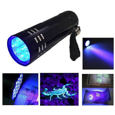 9 LED Mini Aluminium UV Ultra Violet Pen Torch Flashlight light Lamp Black