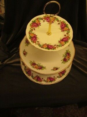 Mismatch Vintage Plated Three Tier China Cake Stand 'old Roses'