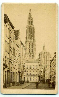 Antwerp, Belgium- City Street- Large Cathedral- Belgique