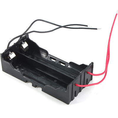 New Box Holder For 2 x 18650 Black With Wire Leads Plastic Battery Storage Case