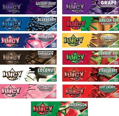 5 x Random Juicy Jays King Size Rolling Papers Apple Strawberry Grape Mango BN