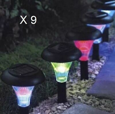 New 9x Solar Powered Led Colour Changing Ambient Crystal Lights Garden Lighting