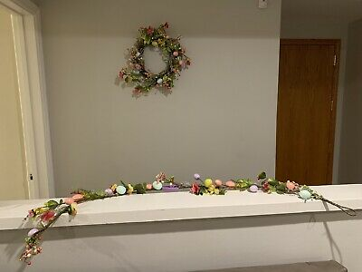 Pier 1 Spring Floral & Egg Wreath with Matching Garland — NEW!