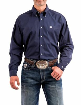 Cinch Western Shirt Mens Long Sleeve Open Pocket Logo Navy MTW1104667