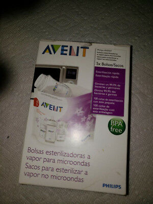 5Bag Philips AVENT Microwave Reusable Steam Steriliser Bags Baby Bottle Cleaning