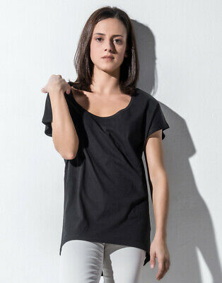 Nakedshirt Women's Loose T-Shirt Fashion Fit Deep Round Neck Longer Back Cotton