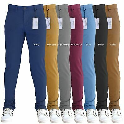 Mens Designer Stretch Slim Fit Chinos Trousers Jeans Pants All Waist Sizes SNS