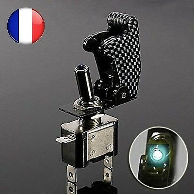 Interrupteur led blanc ON/OFF avec capot carbone 12V tuning racing voiture moto