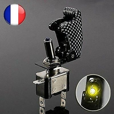 Interrupteur led jaune ON/OFF avec capot carbone 12V tuning racing voiture moto