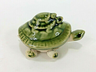 Green Bobble Head Ceramic Turtle Figurine with Two Baby Turtles Feng Shui