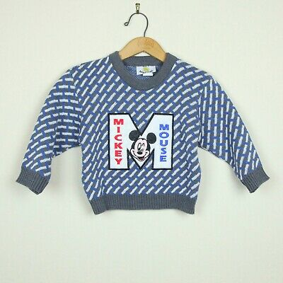 Vintage Boys Toddler 4 Mickey Mouse Pullover Crewneck Sweater 90s Acrylic Blue