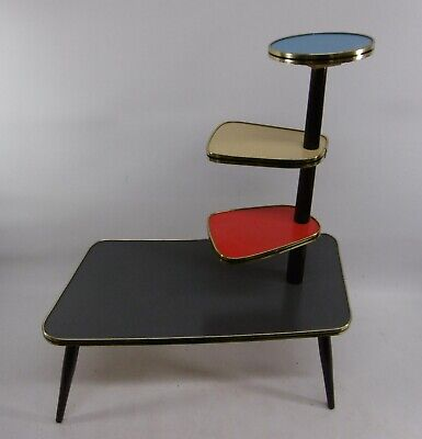 Large Flower Stool 1960s Bench Kidney-Shaped Table Side Colourful