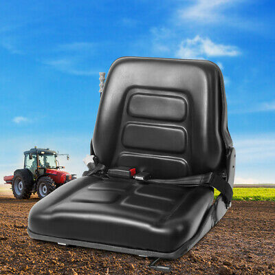 Universal PU Leather Backrest Seat Forklift Tractor Excavator Truck Chair Black