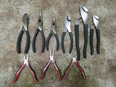 Craftsman 9pc Pliers (6 MADE in USA) Diagonal Cutter, Slip Needle Nose Arc Joint