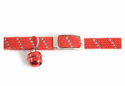 Ancol Softweave Reflective Cat Collar Buckle Red Black No Quick Release Clip