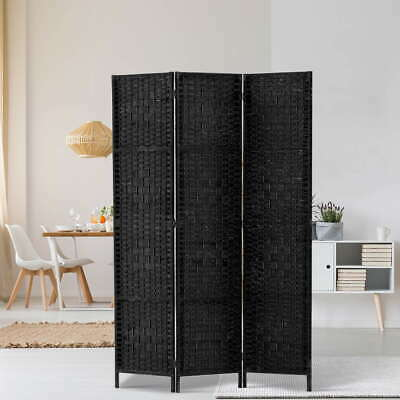 Wood Rattan Room Divider Bedroom Folding Stand Privacy Screen 3 Panels Black