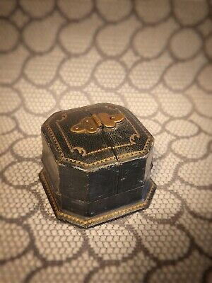 Antique Rare Ring Box Victorian w Brass Door Closure