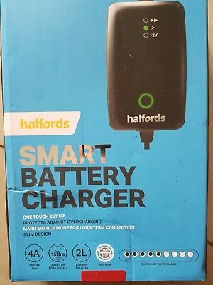 Halfords Smart Battery Charger Car 12v 4a Vehicles One Touch 2 Start Stop New