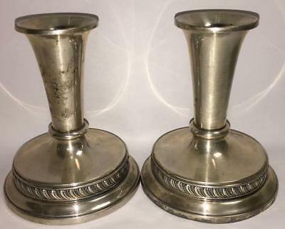 Pair Of Antique Sterling Silver Weighted Candle Sticks