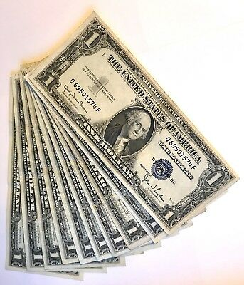 Collectible Lot of Ten $1 Dollar Blue Seal SILVER CERTIFICATE NOTES | 1935, 1957