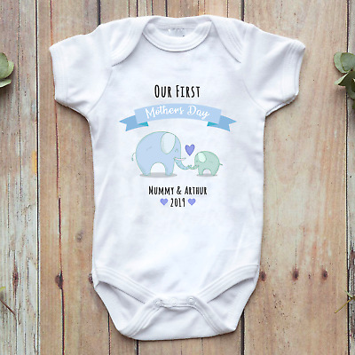 Our First Mother's Day 2019 Personalised Baby Vest Grow Gift Present Elephant