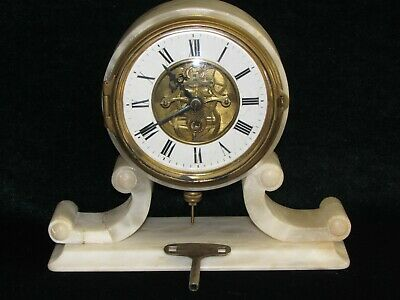 Antique Mantle Clock  French farcot  White Marble