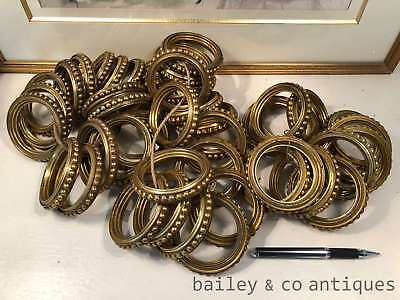 Antique French Large Hollow Brass Curtain Rings Set of Sixteen (16)- PQ542b