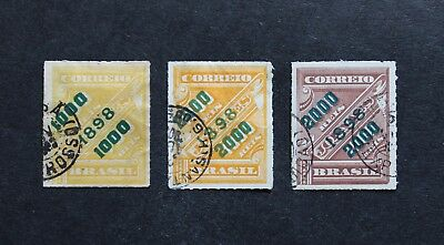 Brazil - 1898 Very Scarce Newspaper Green Surcharge Vfu Lot Of 3 Rr