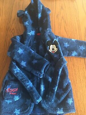 Baby Boys Blue Disney For Asda Mickey Mouse Dressing Gown 6-12 Months