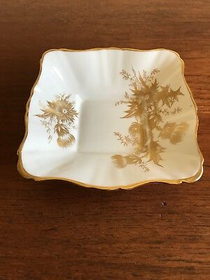 Vintage Gladstone Staffordshire England Thistle Gold Trinket/Butter/Pin Dish