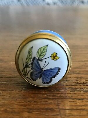 Vintage Crummles Enamels Enamel Box Butterfly Made In England
