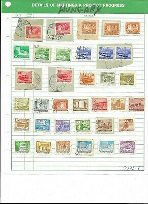 Hungary Sheet Of Assorted Cancelled Stamps