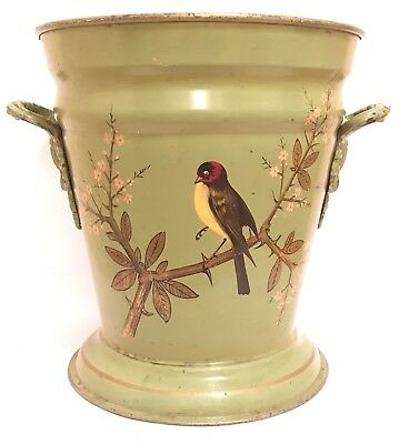 Victorian Ash Bin Cinder Bucket Coal Scuttle Toleware Hand Painted Birds Foliage