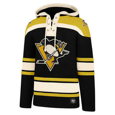 90eea47f5 Pittsburgh Penguins  47 Brand Black Embroidered Lacer Hooded Jersey  Sweatshirt