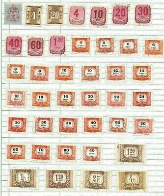 HUNGARY, SHEET OF ASSORTED POSTAGE DUE CANCELLED STAMPS, 1930's - 1950's