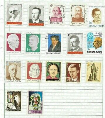 Hungary, Sheet Of Assorted  Cancelled Stamps