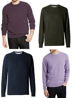 New Men Ex M&S Jumper Long Sleeve Pure Cotton Crew Neck Pullover Size S-XXL