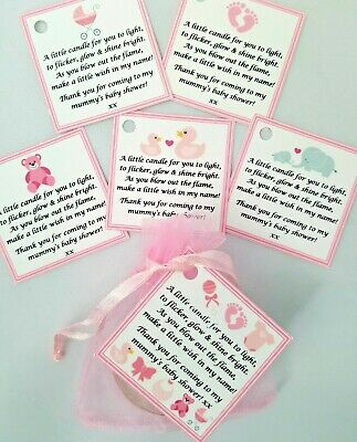 BABY SHOWER scented tealight candle favours 10 pack - PINK THEME GIFT BOX GIRL