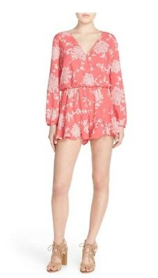 NWT Nordstrom Fraiche by J Pink Floral Crepe Long Sleeve Women 's Romper Size L