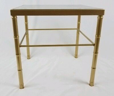 Vintage faux gold bamboo end table glass top Hollywood Regency Mid-Century