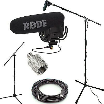 RODE VideoMic Pro Microphone Studio Boom Kit; Stand, Adapter, 25' Cable OPEN BOX