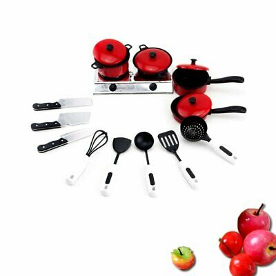 New 13Pcs Kids Plastic Kitchen Cooking Tool Cookware Food Play Toy Set Gift AS