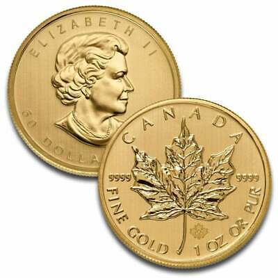1 Troy oz Gold Canadian Maple Leaf Coin .9999 fine $50- Mint, Uncirculated NR