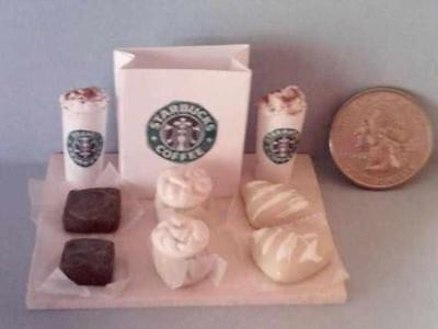 Barbie Doll Sized Starbucks Dessert #2 Menu Board Set